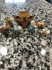Hallmark Merry Miniature 1995 Noah's Ark 7 Pc Set Includes Bonus Lambs, Camels