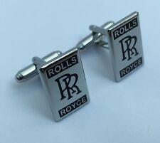 Rolls Royce voiture Ovale Chrome Plaqué Boutons De Manchette En Boîte Cadeau-Noir