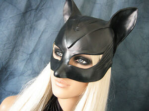 CATWOMAN HAUBE (Gr. M) Latex Ohren Katze Pet Play Gummi Sexy Kitty Cat Batman