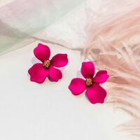 New Fashion Boho Painting Big Flowers Ear Stud Earrings Women Charm Lady Jewelry