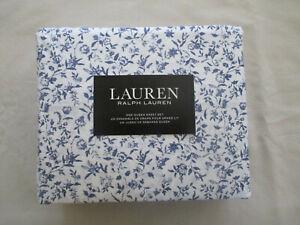 NEW 4pc Ralph Lauren Queen Sheet Set Cottage Chic Floral Purple & White