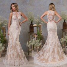 Champagne Mermaid Wedding Dresses Bridal Gowns Halter Neck Plus Size 0 4 8 12 16