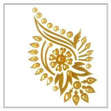 Twin Pack Gold 3D Temporary Sticker Flower Design Body Art Tattoo 10cm x 6cm