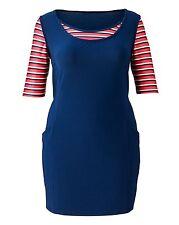 Scoop Neck Short Sleeve Striped Tunic Dresses for Women