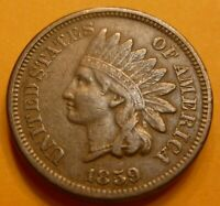 1859  Indian Head Penny  Cent Coin  #IC59HG  Beautiful High grade coin