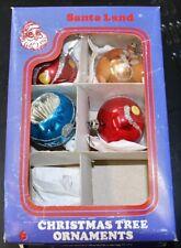 4 Vintage Glass Christmas Tree Indent Glitter Ornaments Santa Land 1970's C100