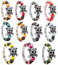 wm016 wholesale lots 11pcs fashion hot acrylic skull wood bead stretch bracelet