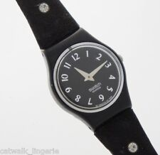 Swatch A Way To The Stars LB161 Black Dial Long Leather Crystal Studded Strap