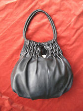 Kenneth Cole Black Leather Hobo Bucket purse handbag Great detailing Unique VGUC