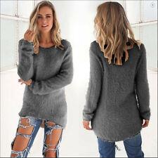 Womens Long Sleeve Loose Blouse Ladies Casual Knit Jumper Longshirt Tops Longtop