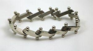 """Sterling Silver Bar & Ball Large Link Modernist Bracelet 7.5"""""""