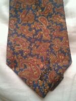 Blue tie with red and gold paisley print
