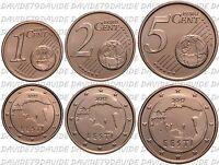 SERIE COMPLETA MONETE EURO ESTONIA 2017 - 1 _ 2 _ 5 CENTESIMI FDC