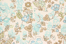 1960's Vintage Wallpaper Blue Green Turquoise Butterflies Flowers