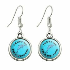 Humor Novelty Dangling Drop Charm Earrings Trust Me I'm a Dolphin Funny