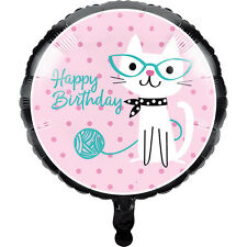 "Purr-fect Kitty Happy Birthday 18"" Foil Mylar Balloon Party Cats Kitten Event"
