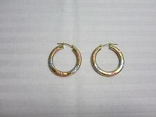 14KT Gold Hoop Earrings White Yellow Rose Star Design 25 MM New