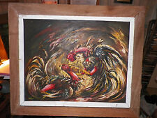 Cock Fight Painting by Haitian Artist - Ernst Louizor