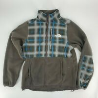 The North Face Womens Zip Up Fleece Jacket Size M Brown Plaid Front H8