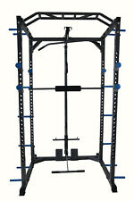 Total Body Base Power Rack Squat Cage Machine with Cable Pulley Home Garage Gym