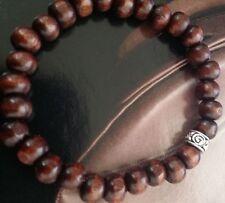 Silver Celtic Spiral Brown Koa Wood Beaded Stretch Bracelet Mala Men Women