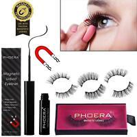 PHOERA Waterproof Magnetic Natural Long False Eyelashes No Glue Liquid Eyeliner