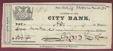 City Bank of New York Vintage Check, 1835
