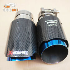2* Akrapovic Glossy Carbon Fiber Exhaust tip 76-101mm Universal Blue End pipe