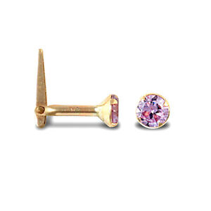 9ct Yellow Gold Hinged Nose Stud With A Lilac Cubic Zirconia Stone E R J Co
