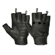 HUGGER Deerskin Leather Women's Motorcycle Fingerless Gloves Breathable Handback
