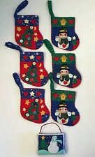 "6 Handmade Fabric Christmas Sock Hanging Ornaments Snowmen Tree Red Blue 5"" Tall"