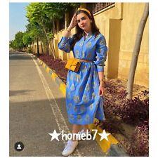 BNWT Zara 100% COTTON BLUE EMBROIDERED VOLUMINOUS DRESS Size XS UK 6 8
