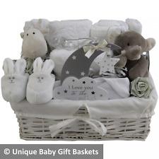 Baby gift basket baby hamper white and grey unisex neutral baby shower unique