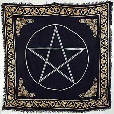 "Gold Bordered Pentagram Altar / Tarot Cloth 36"" x 36"" with Celtic Pattern"
