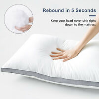 Hypoallergenic Cotton Quilted Pillow 2 Pack Quilted Firm Gusseted Pillows