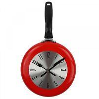 Wall Clock Frying Pan Shape Decoration Art Watch Design Kitchen Home Decor Metal