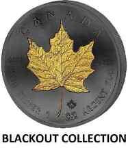 1 OZ SILVER CANADIAN MAPLE LEAF COIN $5 BLACK RUTHENIUM-24KT BLACKOUT COLLECTION