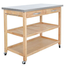 Stable Wood Cart Kitchen Island Storage 4 Rolling Casters Stainless Steel Top