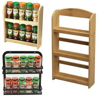 2/3 TIER SPICE HERBS JARS RACK HOLDER STAND NATURAL BAMBOO WOOD WALL MOUNTED NEW