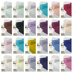 """EXTRA DEEP BOX 16""""/40 CM FITTED BED SHEETS PERCALE SINGLE DOUBLE KING S/ KING"""