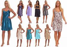 Satin Chemise Nightie Silk Feel Ladies Nightdress Knee Length Cami Floral Plain