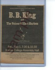 BB KING RARE 1969 HUNTER COLLEGE CONCERT AD 4 x 5 INCHES BLUES  CLAPTON, SRV