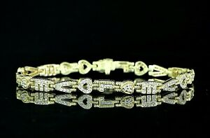 $6250 Judith Ripka 18K Yellow Gold Round Diamond Heart LOVE Link Tennis Bracelet