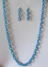 SILKY CHAIN NECKLACE EARRINGS SET PEACOCK BLUE WITH SILVER PLATED WIRES & CLASP