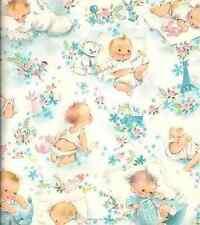 Vintage Baby Blue 8x8 Fabric Block - BUY 2 FABRIC LISTINGS, GET 1 FREE!