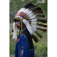 Small Turkey Feather Halloween Warbonnet Native American Headdress Apache Indian