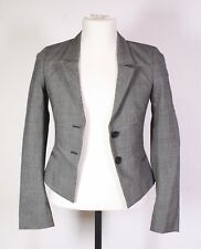 T29-1 MEXX Damen Blazer Jacke Gr. 34 Stretch schwarz-weiß Viskose Leinen
