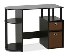 Simple design computer desk with open shelves and bin drawers
