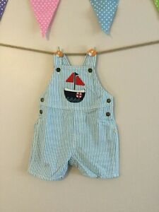 Baby Boys Sailing Dungarees - Cornish Blue Stripe - 3-6 M - BNWT - RRP £26