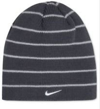 $95 NIKE KIDS BOYS GRAY STRIPED CAP RIBBED REVERSIBLE WARM WINTER BEANIE O/S